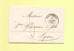 Lettre Ecrite A Naples - Deposee A Marseille - 29 Sept 1845 - Marcophilie (Lettres)