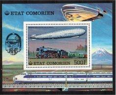 COMORE IS. -  COMORO IS. - COMORES 1977 TRENI ZEPPELIN MNH ** MI BL 84 - Treni