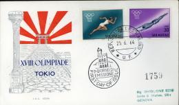 SPORT XVIII OLIMPIADE TOKIO PRE OLIMPICA 1964  SAN MARINO FDC RODIA - Sommer 1964: Tokio