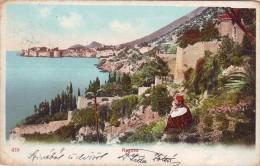 #0823 Croatia, Ragusa, Litho? Postcard Mailed 1900: Seashore, A Turk - Kroatië