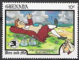 Granada 1989 Scott 1777 Sello ** Walt Disney Ben And Me  10c Franklin Experimentando Con La Electricidad Grenada Stamps - Disney