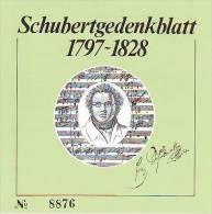 1109q: Österreich Schubert- Gedenkblatt, Kleinauflage - Musik