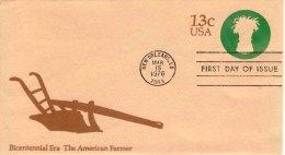 USA Unaddressed FDC 13c Bicentennial Era - The American Farmer. Postmark: New Orleans LA 15 Mar 1976 - Ganzsachen