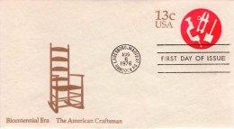 USA Unaddressed FDC  13c Bicentennial Era - The American Craftsman. Postmark: Hancock, Lanesboro MA 6 Aug 1976 - Ganzsachen