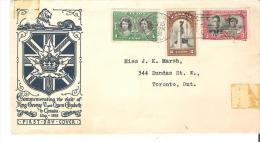 First Day Cover Commemorating The Visit Of King George VI And Queen Elizabeth To Canada May, 1939 - ....-1951