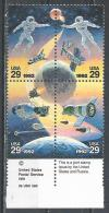 USA.  Scott # 2631-34 MNH @ Block Of 4. Space Cooperation. Joint Issue With Russia 1992 - Joint Issues