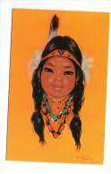 Cp , CANADA , Indian PAPOOSE , Original Pastel Painted By Gerda Christofferson , Indien , écrite - Indiens De L'Amerique Du Nord