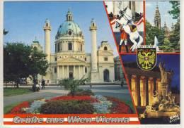 Gruss Aus WIEN  -  Mehrfachansicht -  Karlskirche, Span. Reitschule, Rathaus, Parlament - Wien