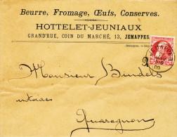 991/19 --  Lettre TP 74 Grosse Barbe JEMAPPES 1909 Vers Notaire à QUAREGNON - Entete Beurre Fromage Hottelet - Jeuniaux - 1905 Grosse Barbe