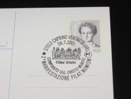 CAPRINO VERONESE 28.07.2001 COMPIANTO SUL CRISTO MORTO ANNULLO SPECIALE MARCOFILIA CARTOLINA POSTALE 2000 - Verona