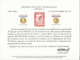 CB0179 United States 1971 Indian Postal Bolivar Lima Engraver Proof MNH - Proofs, Essays & Specimens