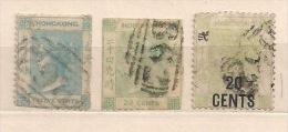 HONGKONG HK HONG 1862-80 QUEEN VICTORIA Used 3items Hinged - Hong Kong (...-1997)
