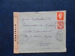 A3133  LETTRE . CENSURE POUR COMITE INTERN. DE LA CROIX ROUGE A GENEVE  1945 - Marcophilie (Lettres)