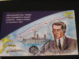VERONA 23.11.2001 97° VERONAFIL  G. MARCONI COLLEGAMENTO RADIO CANADA - INGHILTERRA ANNULLO SPECIALE MARCOFILIA - Verona