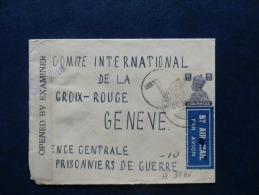 A3136  LETTRE . CENSURE  POUR COMITE INTERN. DE LA CROIX ROUGE A GENEVE - 1936-47  George VI