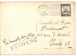 N° Y&T 45  VATICAN  Vers FRANCE  Le  07 MARS1939 ( 2scans) - Lettres & Documents