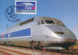 D13058 CARTE MAXIMUM CARD TRIPLE 1989 FRANCE - TGV ATLANTIQUE CP ORIGINAL - Trains