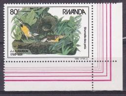 T] Timbre ** Stamp ** Rwanda Oiseau Bird Sturnelle Des Prés Jean-Jacques Audubon - 1980-89: Neufs