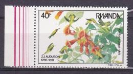 T] Timbre ** Stamp ** Rwanda Oiseau Bird Colibri Jean-Jacques Audubon - 1980-89: Neufs