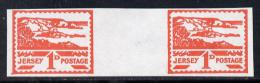 151850 - Jersey 1943-44 Occupation 1d Scarlet Imperf Inter-paneau Gutter Pair As Designed By Blampied On Ungu... - Jersey