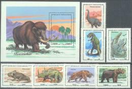 ANIMALES PREHISTORICOS - MADAGASCAR 1992 - Yvert #1338/44+H2 - MNH ** - Timbres