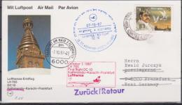 Nepal, 1987, First Flight Kthmandu - Karachi - Frankfurt, Airmail - Nepal