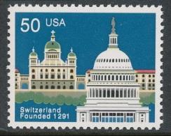 USA 1991 -700° Anniversario Unif. 2238 Emiss Congiunta Con La Svizzera Serie Cpl.1v. Nuovo** - Stati Uniti