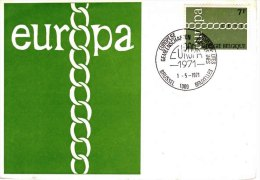 Unaddressed Illustrated Europa Postcard W 7Fr Europa Stamp Cancelled Brussels 01.05.71 - FDC