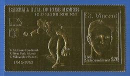 A00103 St. Vincent 1989 Baseball Hall of Fame Member Gold stamp Red Schoendienst