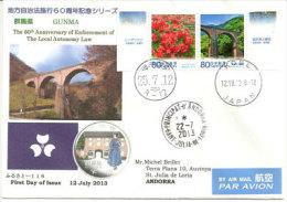 JAPON. Belle Lettre Pont Gunma , Usui Pass, île Honshu,  Adressée En Andorre. - Ponti
