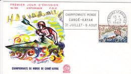 FDC FRANCE N°Yvert 1609 (CANOE - KAYAK) Obl Sp FLAMME Ill  1er Jour - FDC