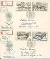 OLI293 -OLIMPIADI GRENOBLE 1968 - 2 RACCOMANDATE CECOSLOVACCHIA CON ANNULLI SPECIALI - - Inverno1968: Grenoble