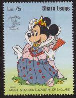 Sierra Leona 1990 Scott 1247 Sello ** Walt Disney Minnie As Queen Elizabeth I Of England 75 Le Sierra Leone Stamps Timbr - Disney