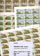 1998   RWANDA Feuille  FAUNE Snail Frog Grenouille  ** Cotées 22E =  1100 E - 1990-99: Neufs