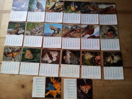 Lot De 20 Calendriers Mensuels Pub EVIAN, Theme Oiseaux Sur 2 Années - Petit Format : 1961-70