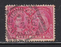 Canada Used Scott #53 3c Jubilee Cancel: SON Squared Circle Charlottetown PEI AU 26 97 - 1851-1902 Regno Di Victoria
