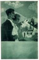 AU PAYS BASQUE  IDYLLE   D APRES UNE AQUARELLE DE JACQUES LE TANNEUR HISTORIQUE AU DOS DE LA VILLE DE FUENTERRABIA - France