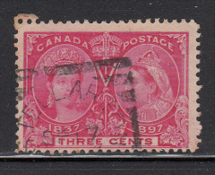Canada Used Scott #53 3c Jubilee Cancel: Squared Circle Stellarton NS SP 17 ? - 1851-1902 Regno Di Victoria