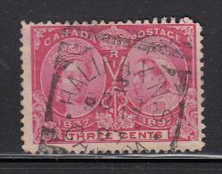 Canada Used Scott #53 3c Jubilee Cancel: Squared Circle Halifax NS SP 17 97 - 1851-1902 Regno Di Victoria