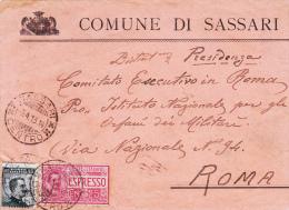 Sassari Per Roma 1913 Timbri Di Transito Al Retro - Express Mail