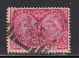 Canada Used Scott #53 3c Jubilee Cancel: Squared Circle St John JY 26 97 - 1851-1902 Regno Di Victoria