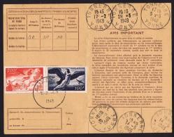 1949  Yv PA  18 Et 19  Sur Carte D'abonnement Aux émissions De Timbres-poste - Marcophilie (Lettres)