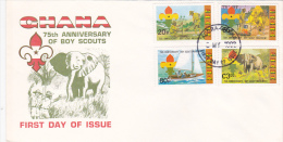 Ghana 1982 75th Anniversary Of Boy Scouts FDC - Scouting