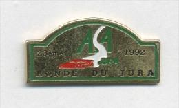 Pin´s  Sport  Automobile, Rallye  A.S.A,  23ème  Ronde  Du  JURA  En  1992, Voiture  Rouge - Rally