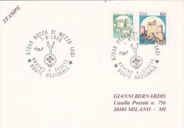 Italy 1986 ,Rocca Di Mezzo, Scout Souvenir Card - Scouting
