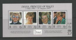 Diana Princess Of Wales 1997 Mini Sheet Complete MUH Full Gum On Rear  Nice Scott Catalogue Value - British Antarctic Territory  (BAT)