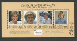 1997 Special Mini Sheet Diana Princess Of Wales 1961-1997  Complete MUH Full Gum On Rear - British Indian Ocean Territory (BIOT)