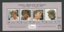 Diana Princess Of Wales 1997 Mini Sheet Complete MUH Full Gum On Rear  Nice Scott Catalogue Value - British Virgin Islands