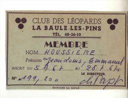 """CARTE MEMBRE """"CLUB DES LEOPARDS"""" LA BAULE LES PINS - Publicité"""