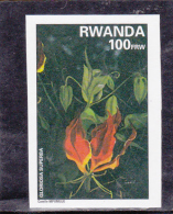 T] Rare:  Timbre ** NON Dentelé Stamp ** IMPERF Rwanda Fleur Flower Gloriosa Superba - Rwanda